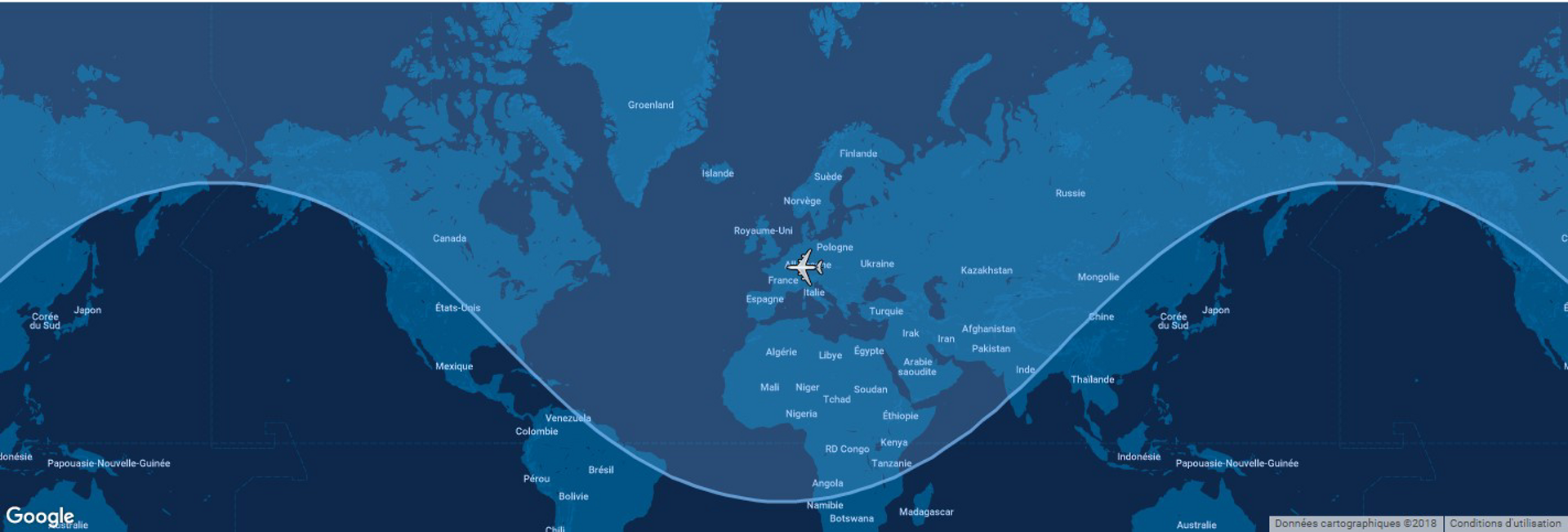 Overlaid on a global map, the typical range for Airbus' A300-600F is shown in this diagram.