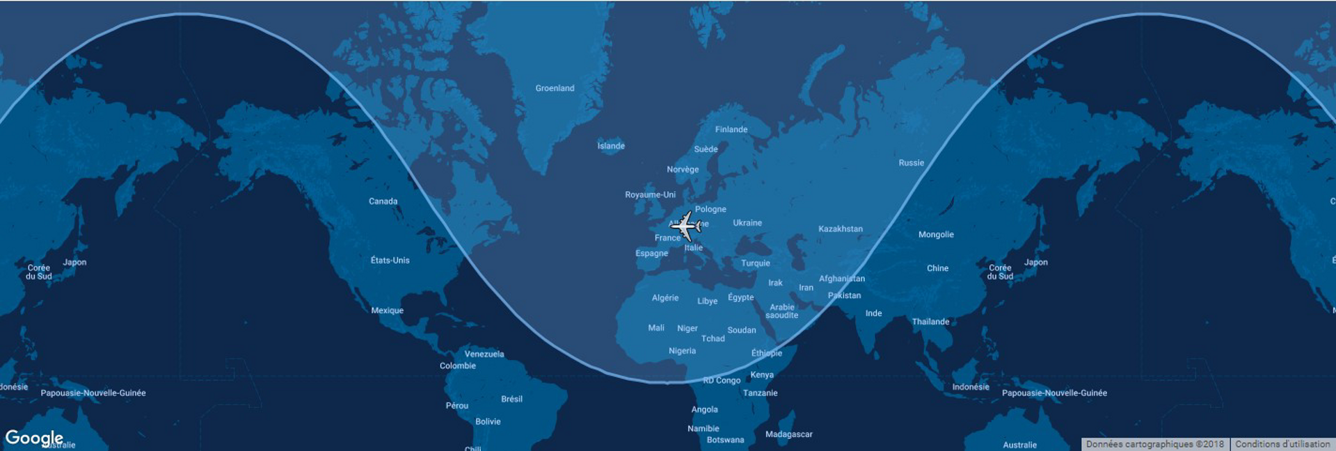This diagram shows the typical range for Airbus' A318 commercial aircraft overlaid on a global map.