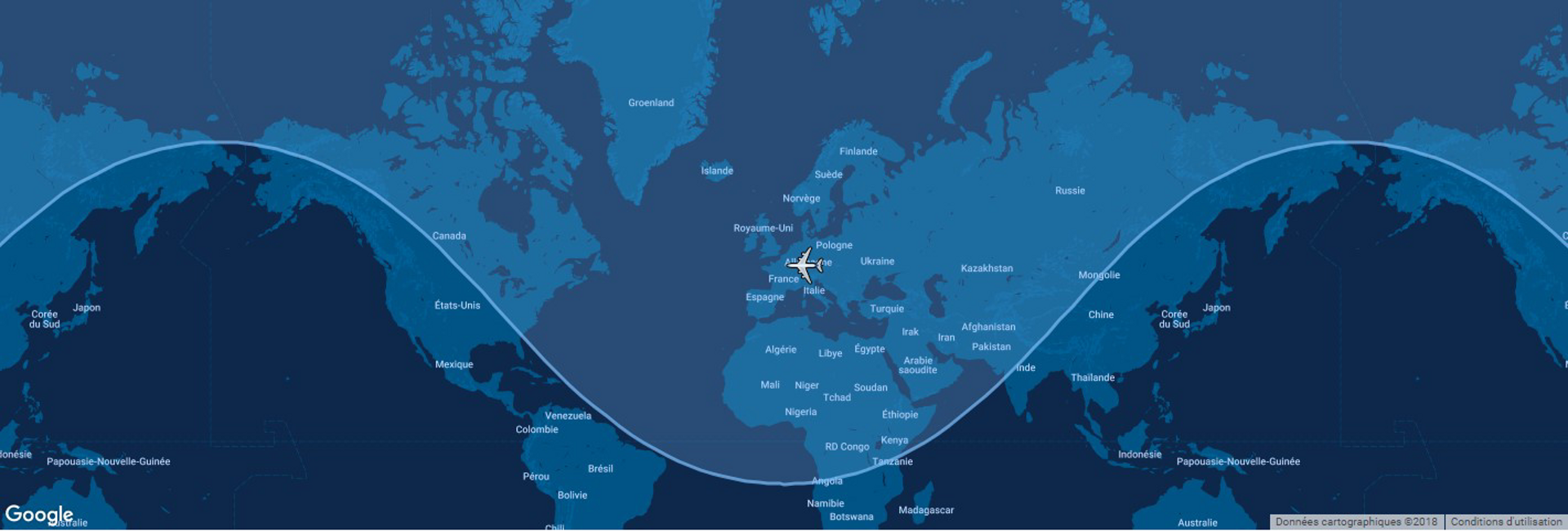 Overlaid on a global map, the typical range for Airbus' A319ceo commercial aircraft is shown in this diagram.