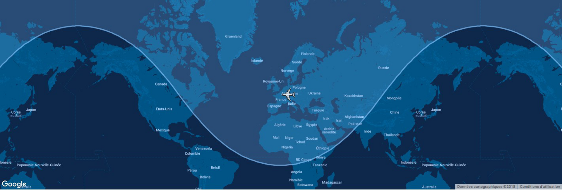 The typical range for Airbus' A320ceo commercial aircraft is shown in this diagram, which includes a global map.