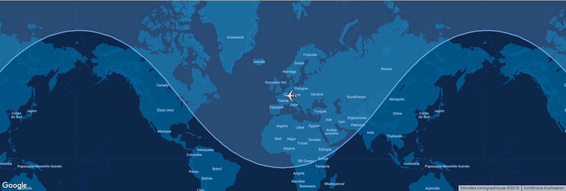 This diagram shows the typical range for Airbus' A320neo commercial aircraft overlaid on a global map.