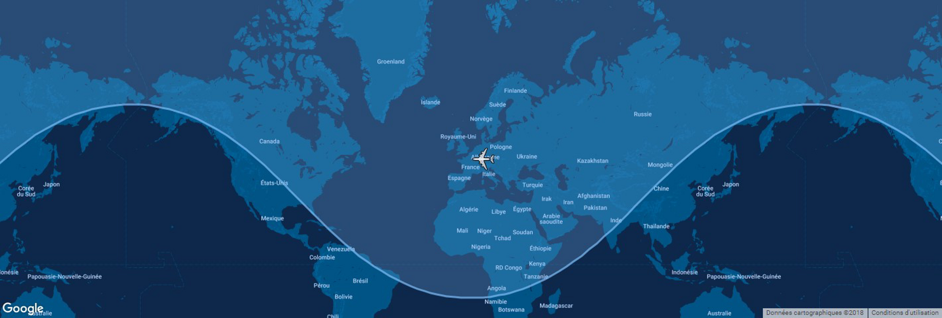 This diagram shows the typical range for Airbus' A321ceo commercial aircraft overlaid on a global map.