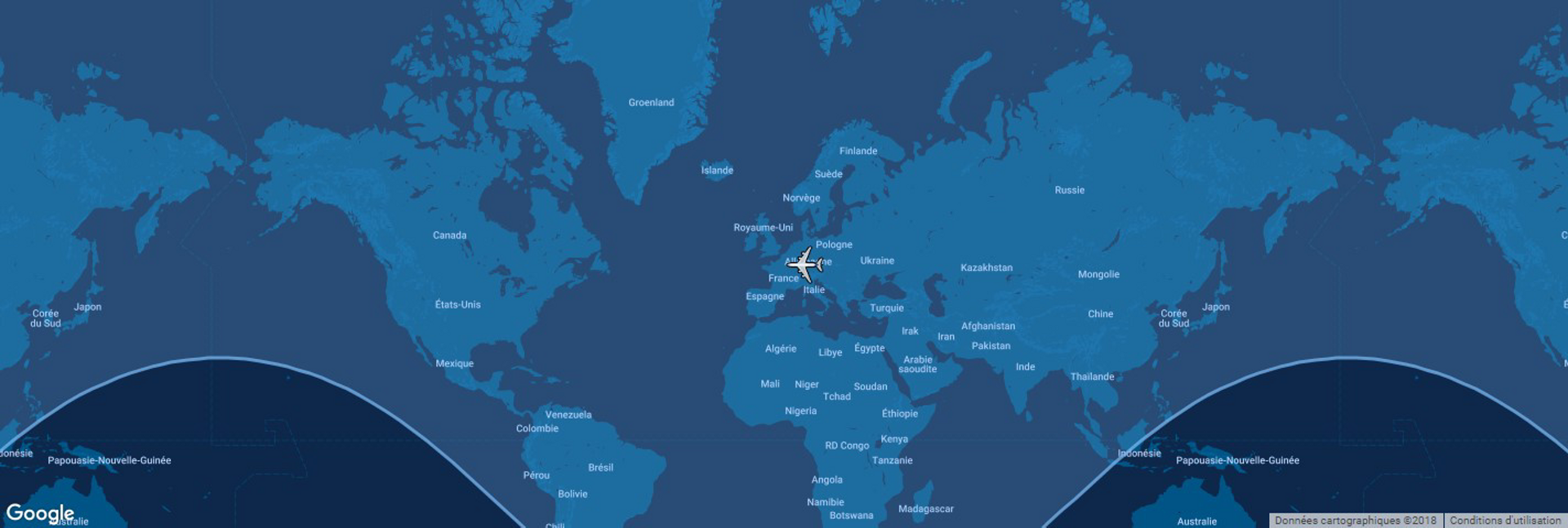 Overlaid on a global map, the typical range for Airbus' A330-300 commercial aircraft is shown in this diagram.