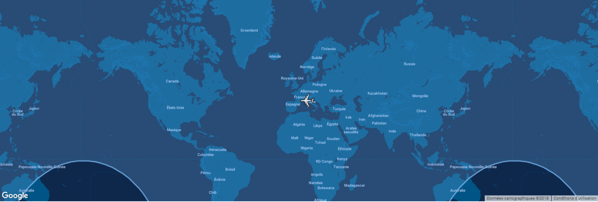This diagram shows the typical range for Airbus' A330-800 commercial aircraft overlaid on a global map.
