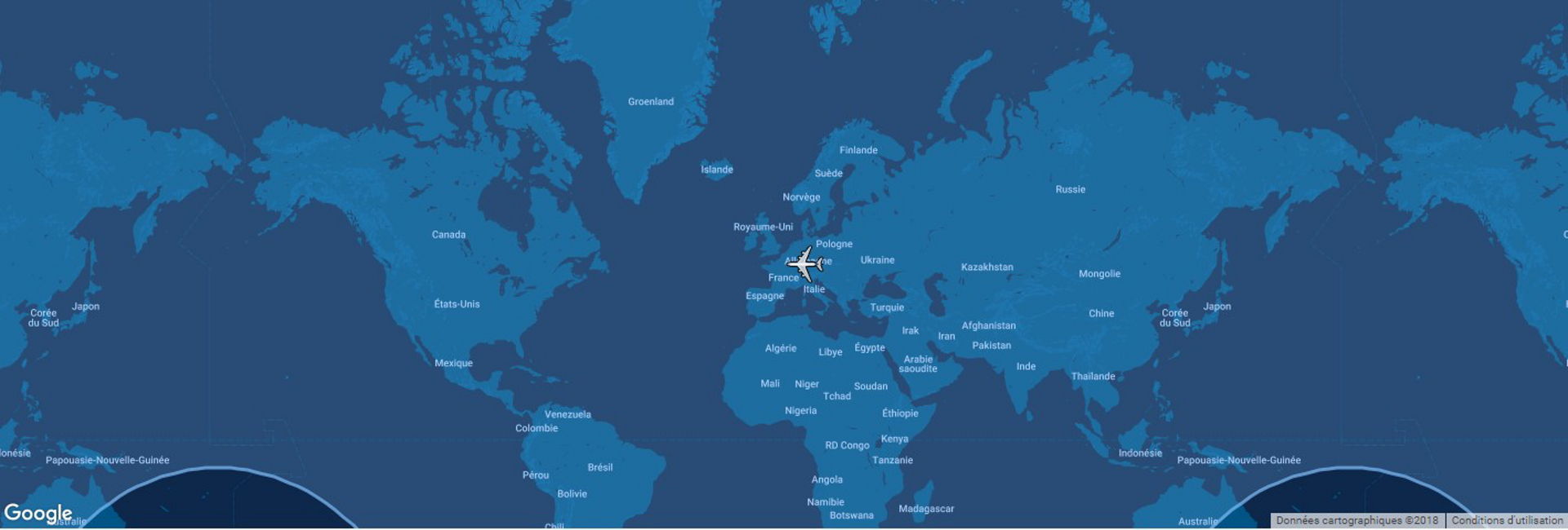 This diagram shows the typical range for Airbus' A350-1000 commercial aircraft overlaid on a global map.