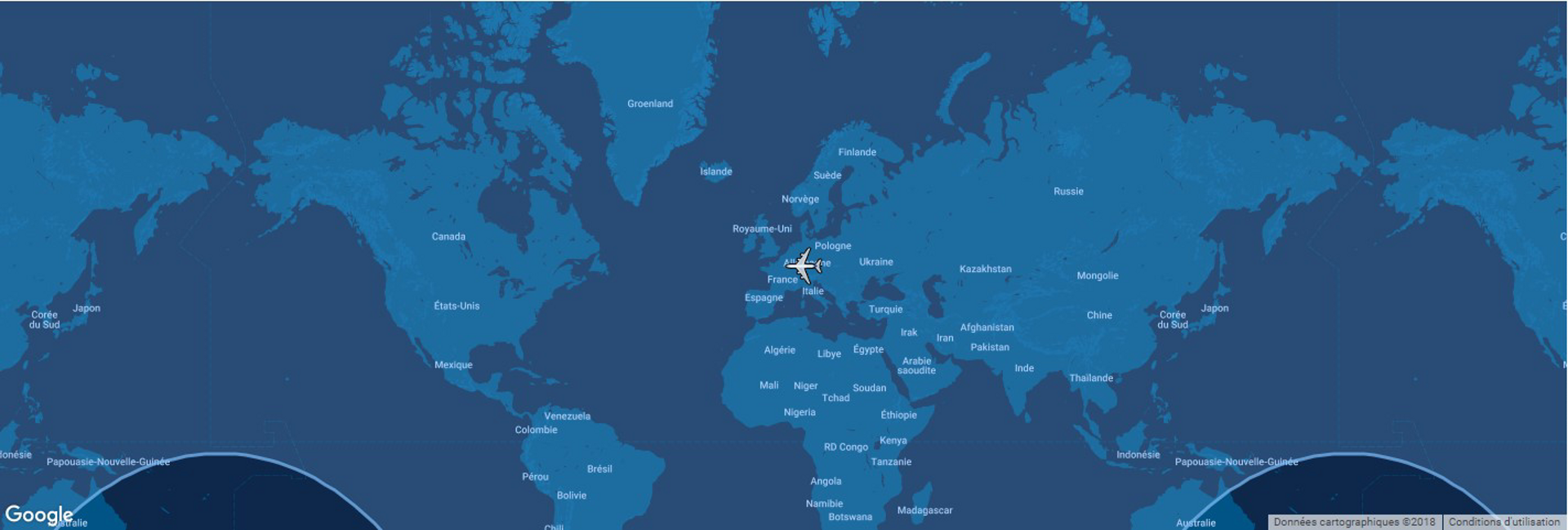 Overlaid on a global map, the typical range for Airbus' A350-900 commercial aircraft is shown in this diagram.