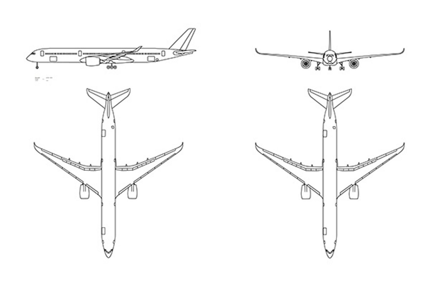 AutoCAD 3-view aircraft drawings