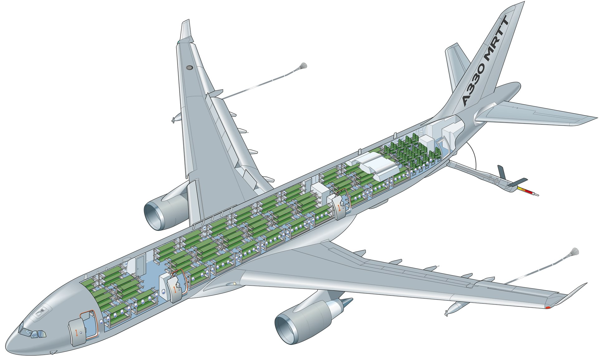 "A ""cutaway"" diagram showing an A330 Mult Role Tanker Transport cabin configuration."