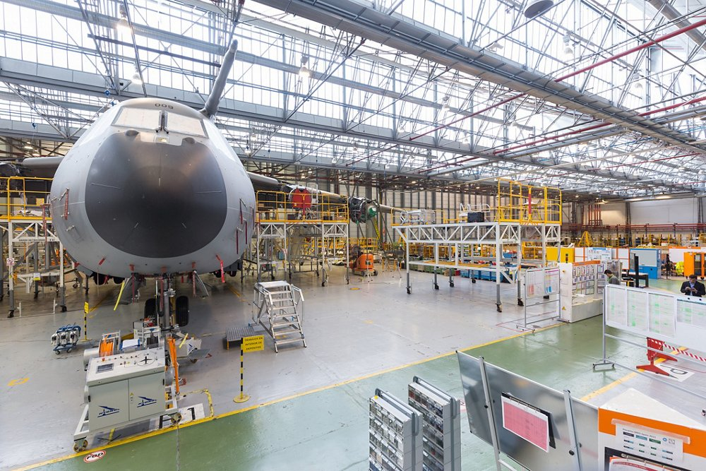 An A400M is shown inside a hangar, ready for maintenance, repair and overhaul (MRO) activity.