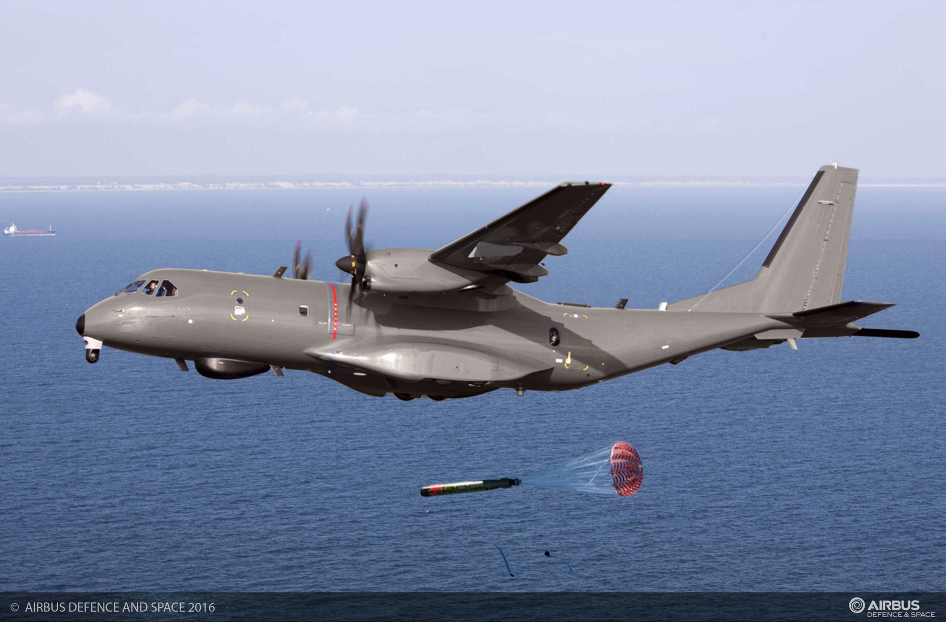 A C295 Maritime Patrol Aircraft (MPA) launches a torpedo in flight.