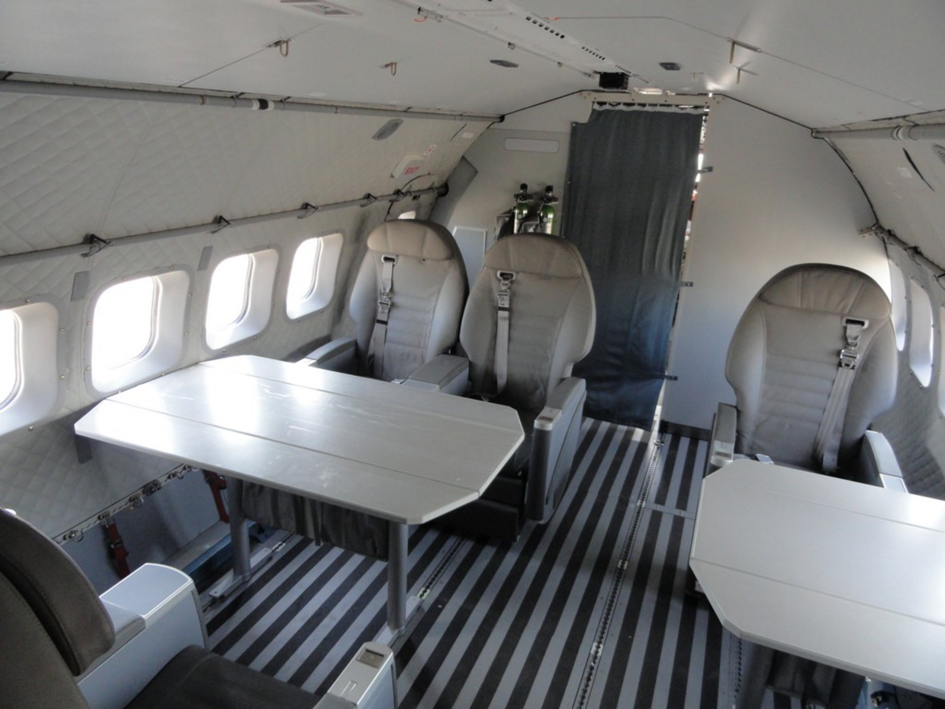A view inside an Airbus C295 cabin outfitted for VIP transport missions.