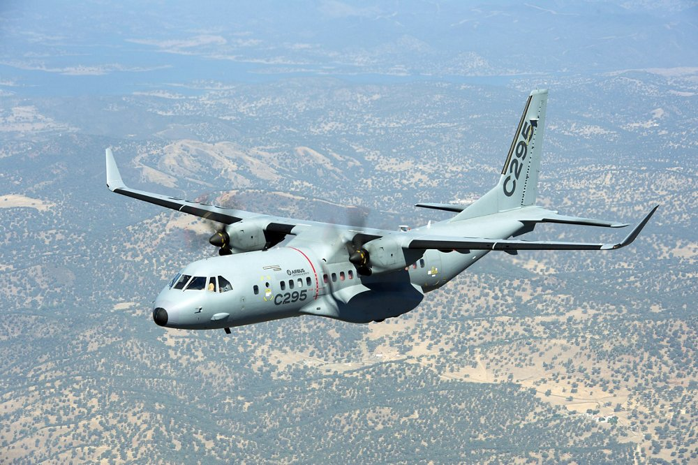 In-flight view of an Airbus C295W maritime patrol aircraft.