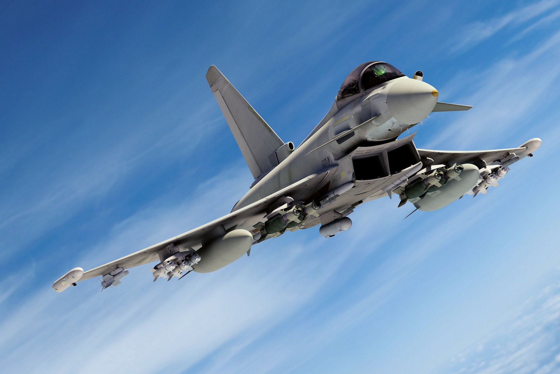 Representation of an in-flight Eurofighter Typhoon swing-role fighter aircraft.
