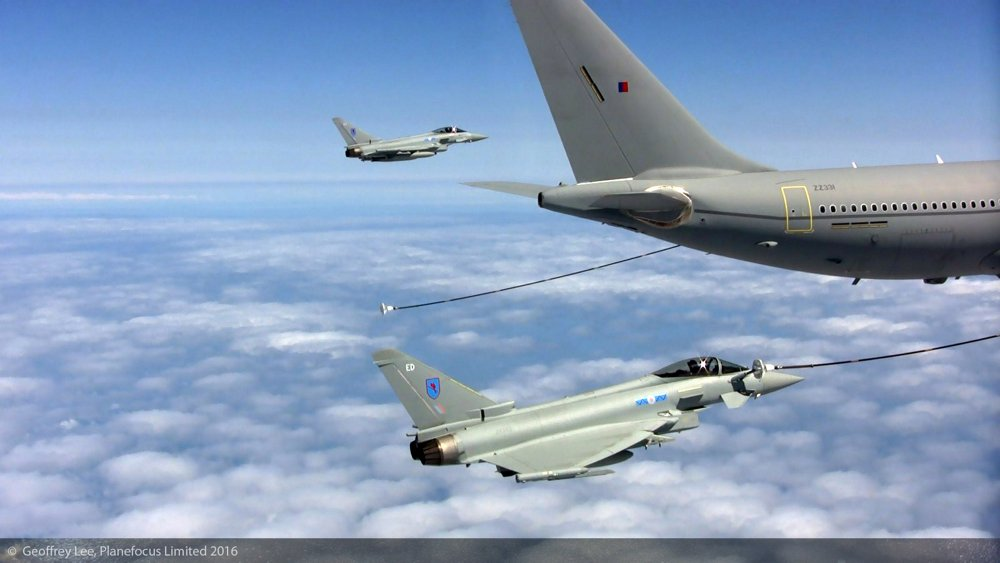 Two Eurofighter Typhoon aircraft are refuelled in flight by an Airbus A330 Multi Role Tanker Transport.