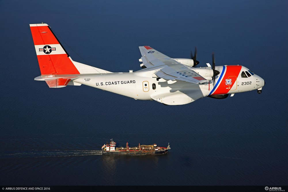 Side view of a U.S. Coast Guard Ocean Sentry, produced by Airbus based on its CN235 transport aircraft
