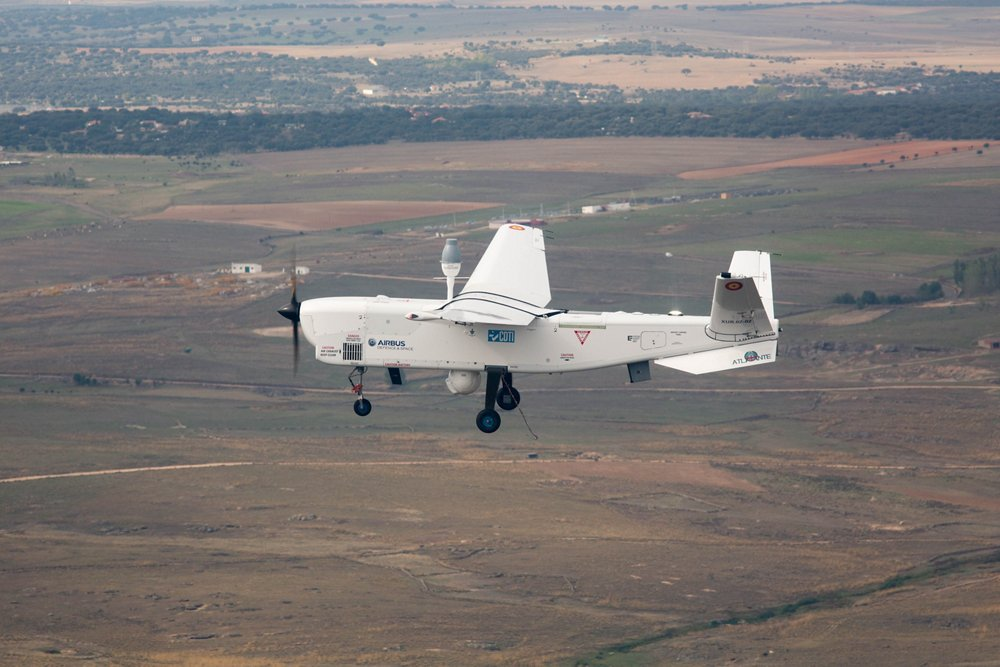 Side view of an in-flight ATLANTE tactical unmanned aerial vehicle.