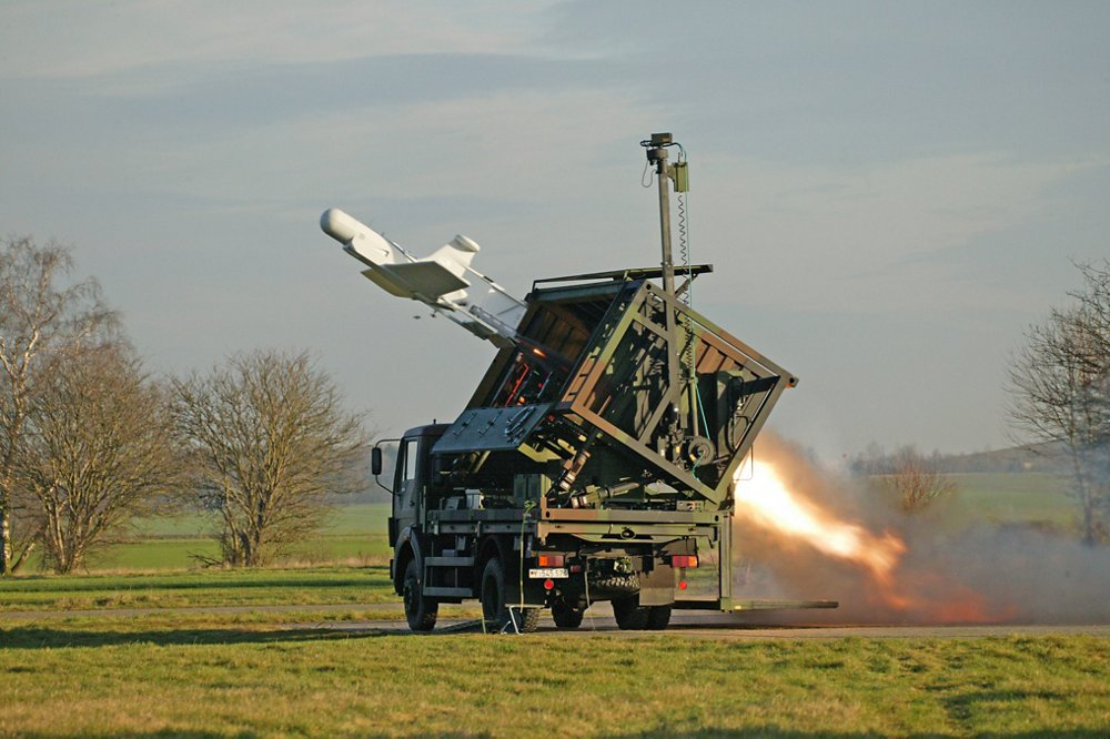 A KZO tactical unmanned aerial system is launched from the ground.
