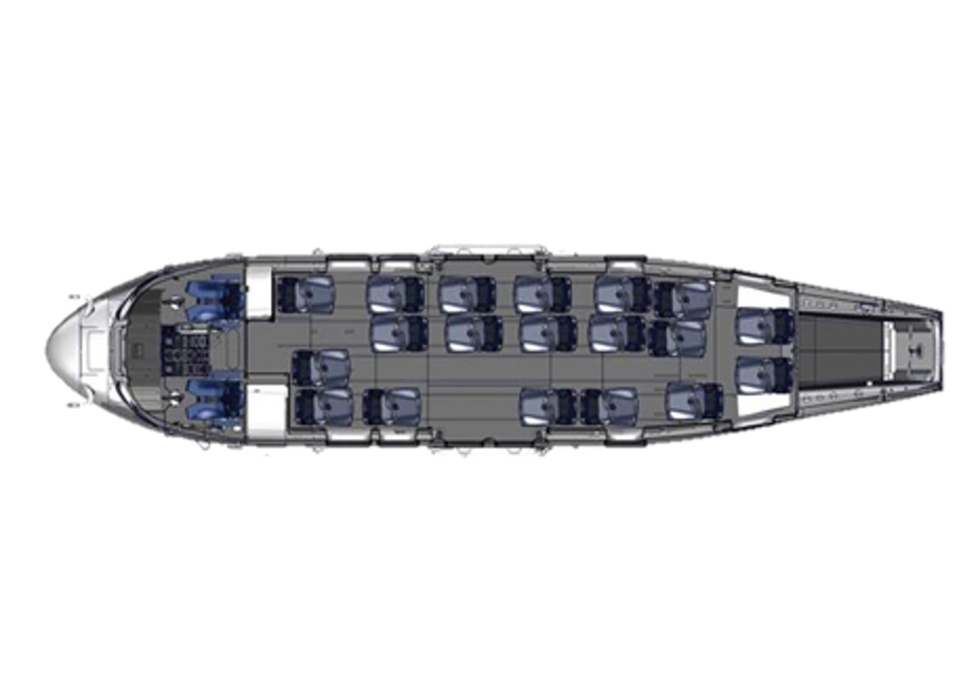 Diagram of an Airbus H225 helicopter cabin with 19 seats for passenger and offshore transport.
