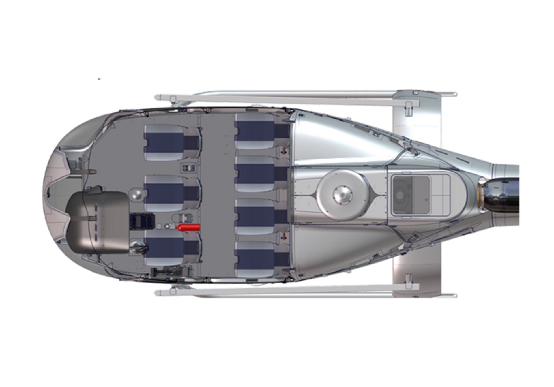 An Airbus H130 helicopter cabin configuration with six seats for passenger transport