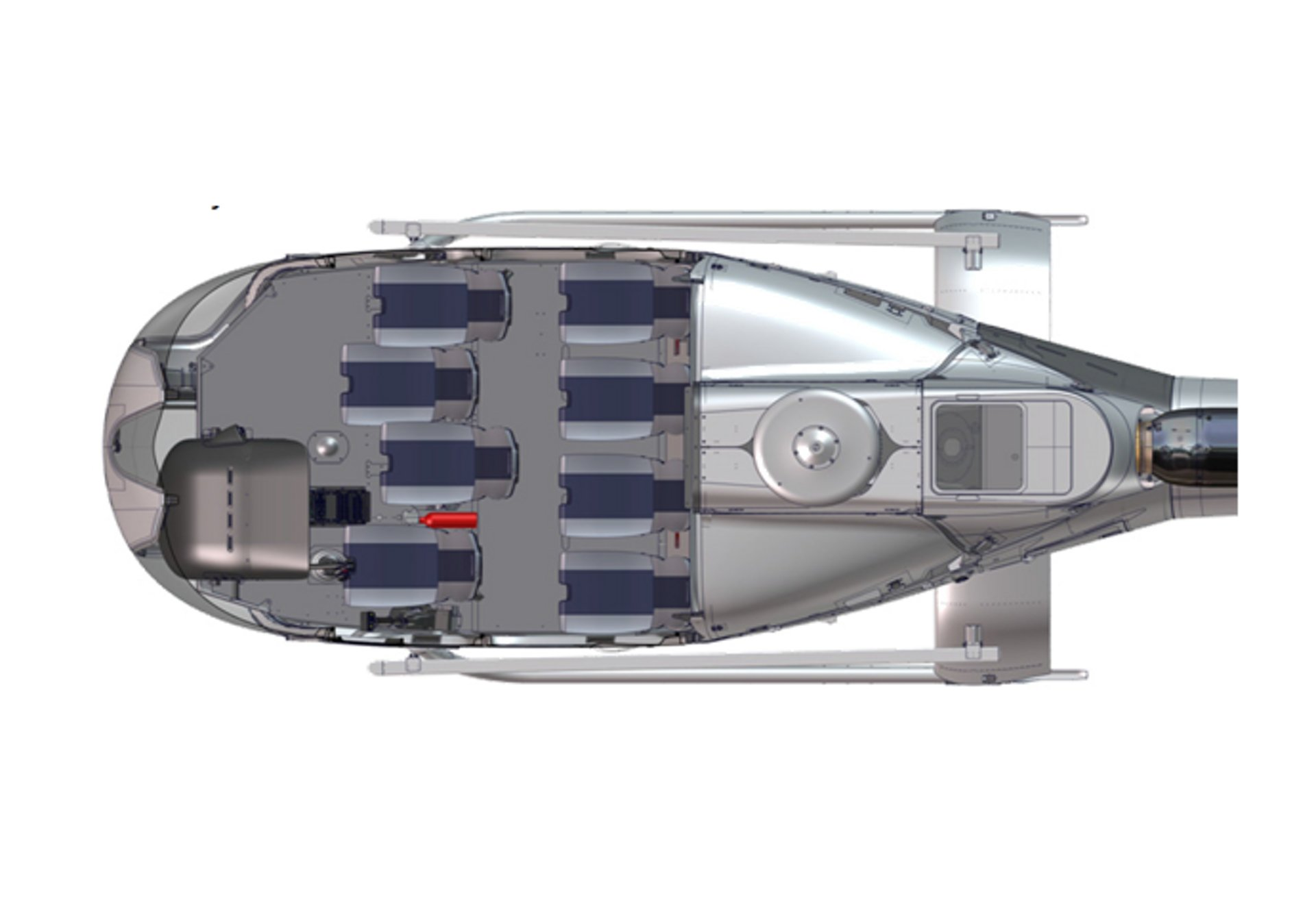 An Airbus H130 helicopter cabin configuration with seven seats for tourism flights