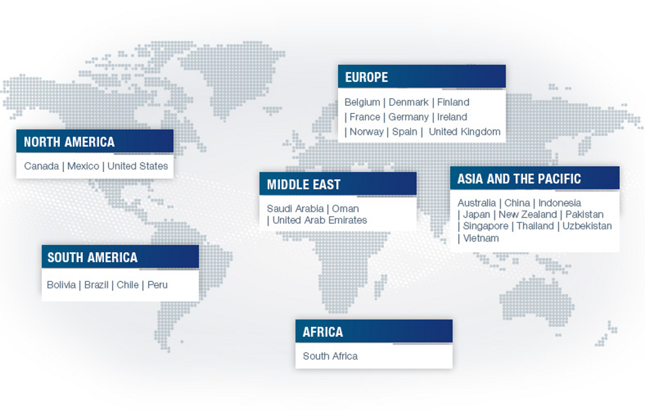 An infographic listing Airbus Helicopters International Services' operations around the world.