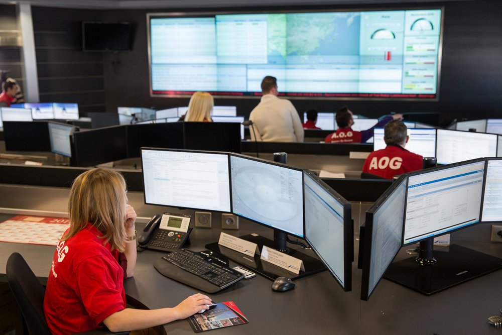A view inside Airbus' AOG department, which is customers' around-the-clock point of entry for aircraft-on-ground situations.