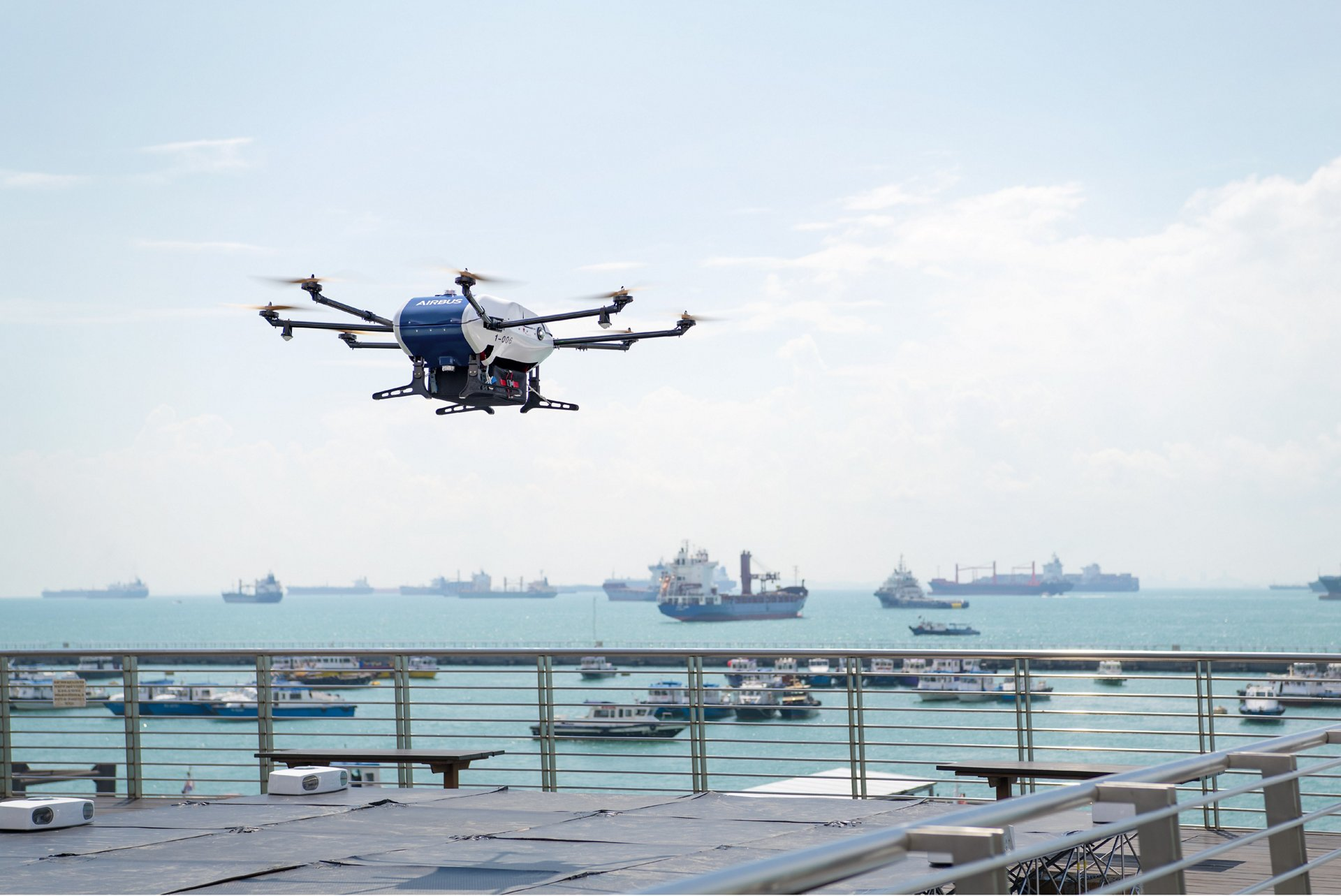 Airbus has begun shore-to-ship trials in Singapore with its Skyways parcel delivery drone.