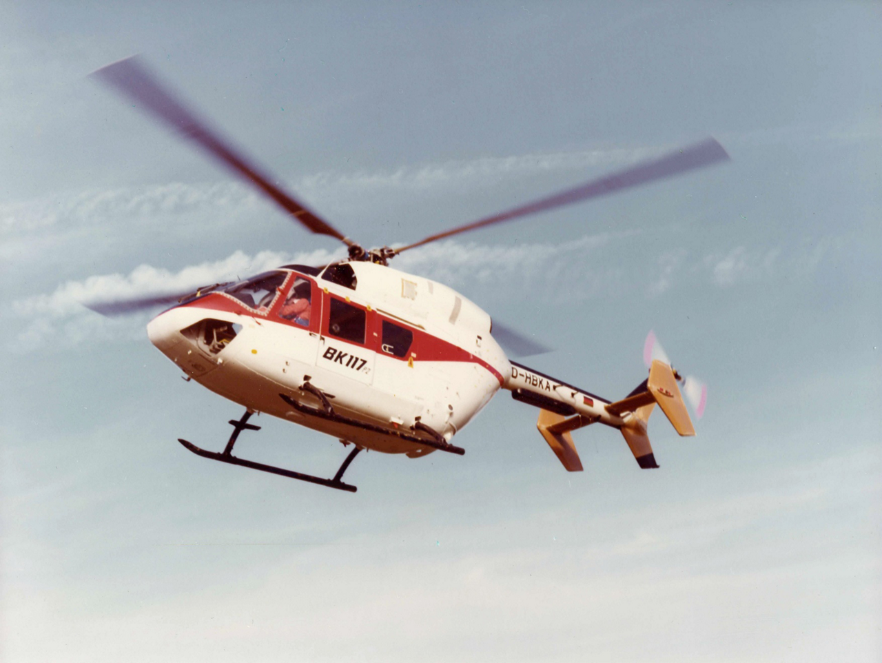 The BK117 helicopter, precursor to Airbus' H145, takes to the skies during its first flight in 1979.