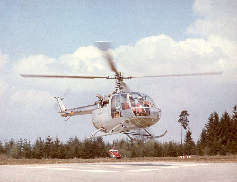 The first flight of the Bolkow Bo105 was on February 16, 1967. On this photo, the Bolkow Bo105 flew on the runway in Germany.