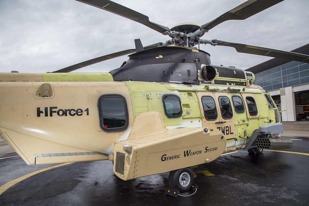 An on-ground H225M military rotorcraft that Airbus Helicopters used for the first HForce onboard weapon system firing tests.