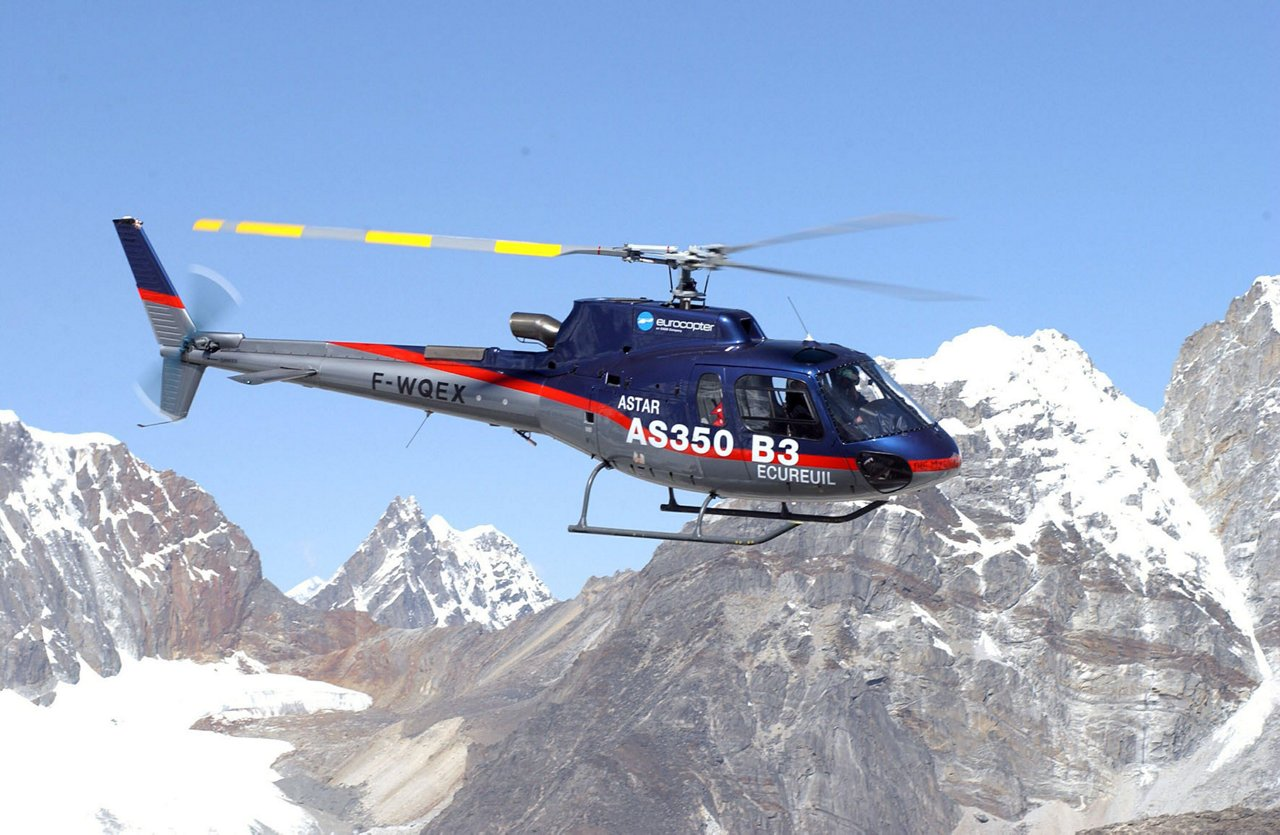 The Ecureuil AS350 B3 landed at 8850 meters on the summit of Everest with the pilot Didier Delsalle in 2005.