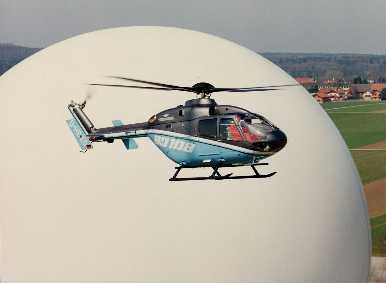 The Bo108 helicopter is shown during its 1988 maiden flight.