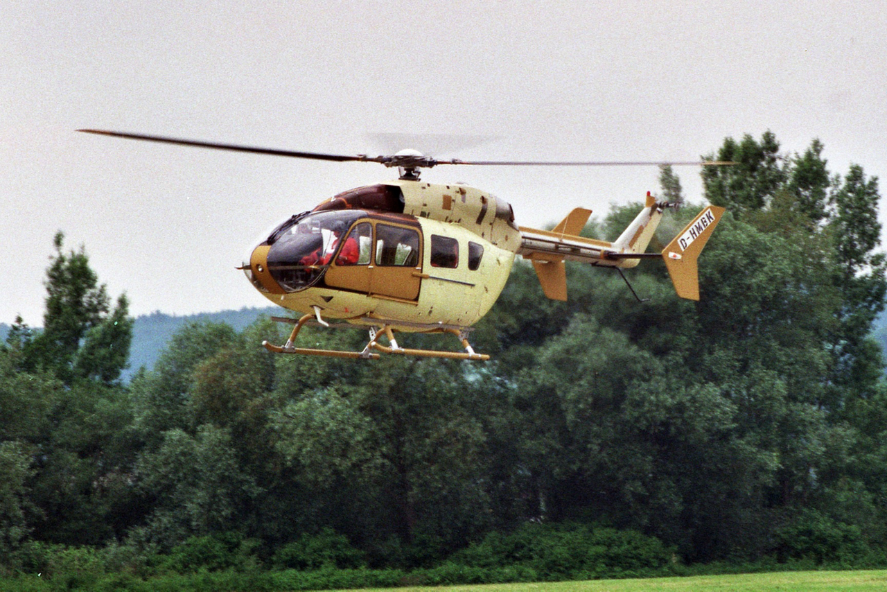 Airbus' EC145 (later re-designated the H145) is shown during its maiden flight in 1999.
