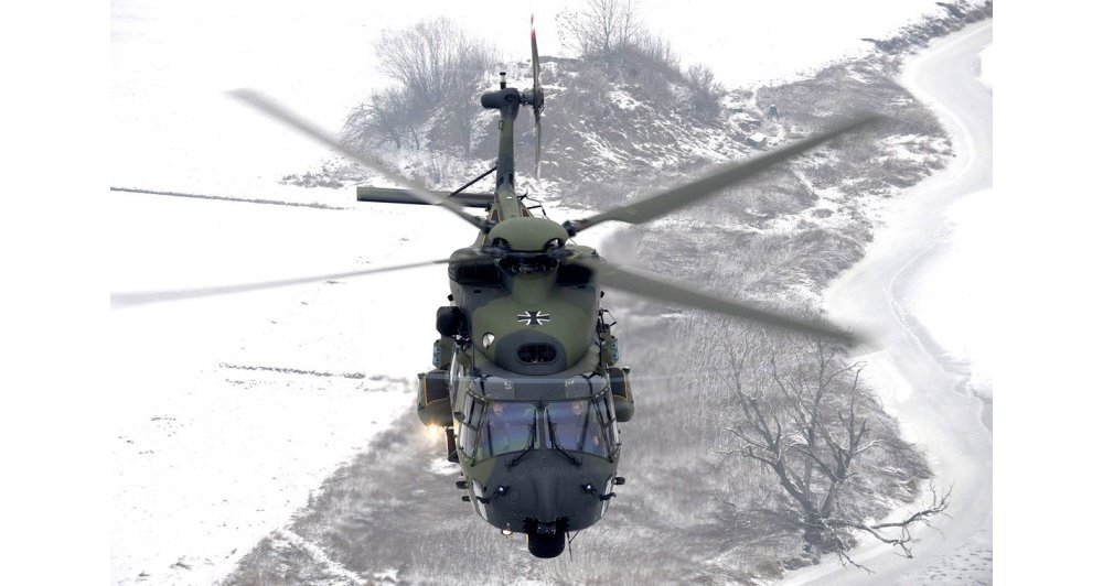 Overhead view of an NH90 military helicopter delivered to the German Armed Forces.