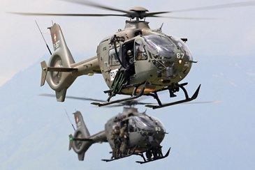 Swiss Armed Force's H135M in flight for a training