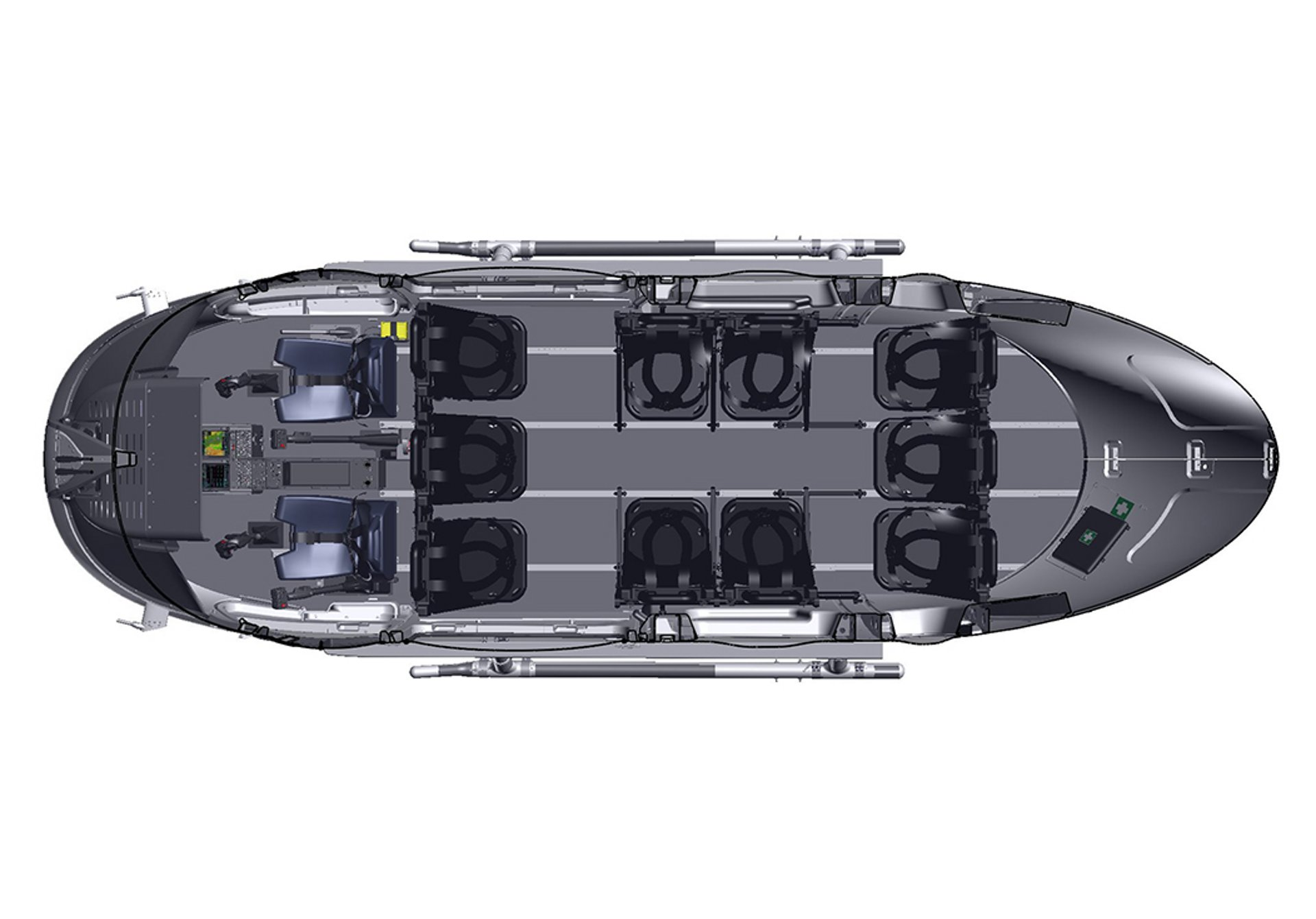Diagram of an Airbus H145 helicopter cabin configuration with seating capacity for 10 passengers