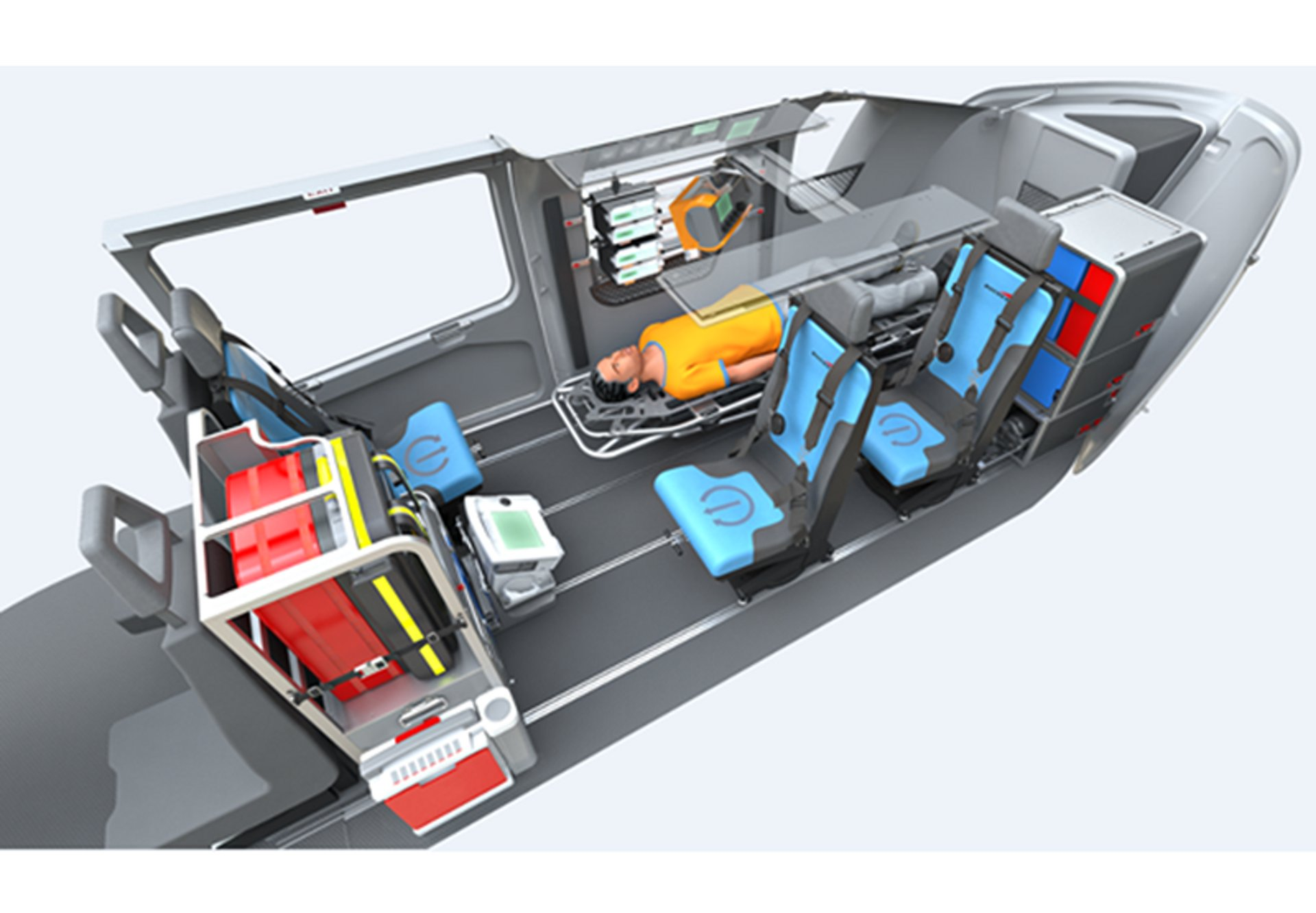 Diagram of an Airbus H145 helicopter cabin configuration for helicopter emergency medical services (HEMS)
