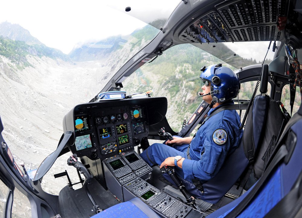 A view inside the cockpit of an Airbus H145 helicopter equipped for law enforcement operations