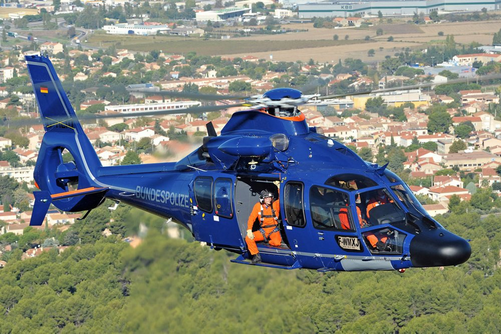 An Airbus H155 helicopter is outfitted for operation by Germany's Bundespolizei national police force.