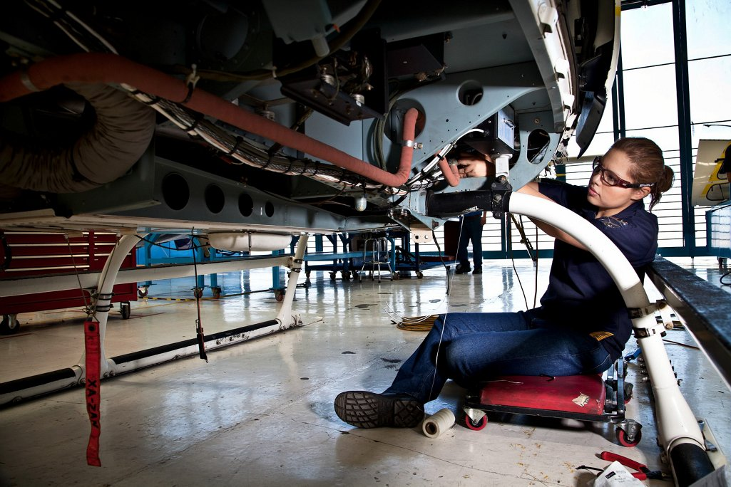Maintenance is performed on a helicopter at Airbus Helicopters de Mexico