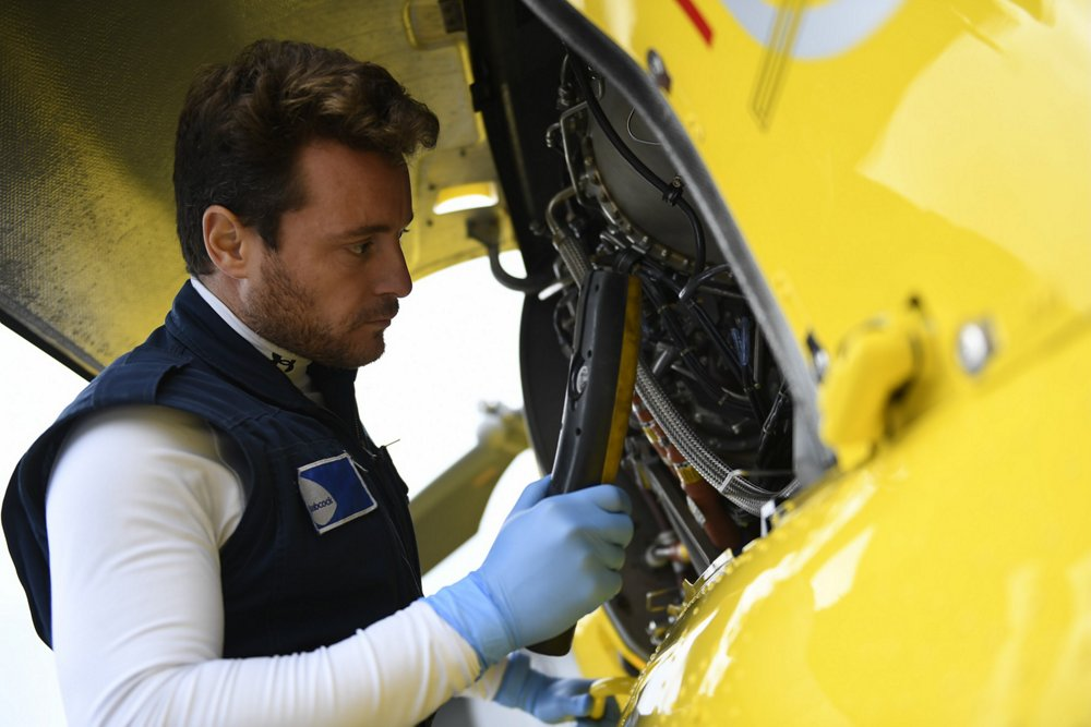 Maintenance is performed on an Airbus H145 helicopter.