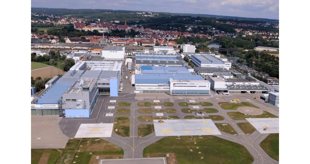 An external aerial view of Airbus Helicopters' Donauwörth, Germany facility, which includes the company's Military Support Center for the German Armed Forces.