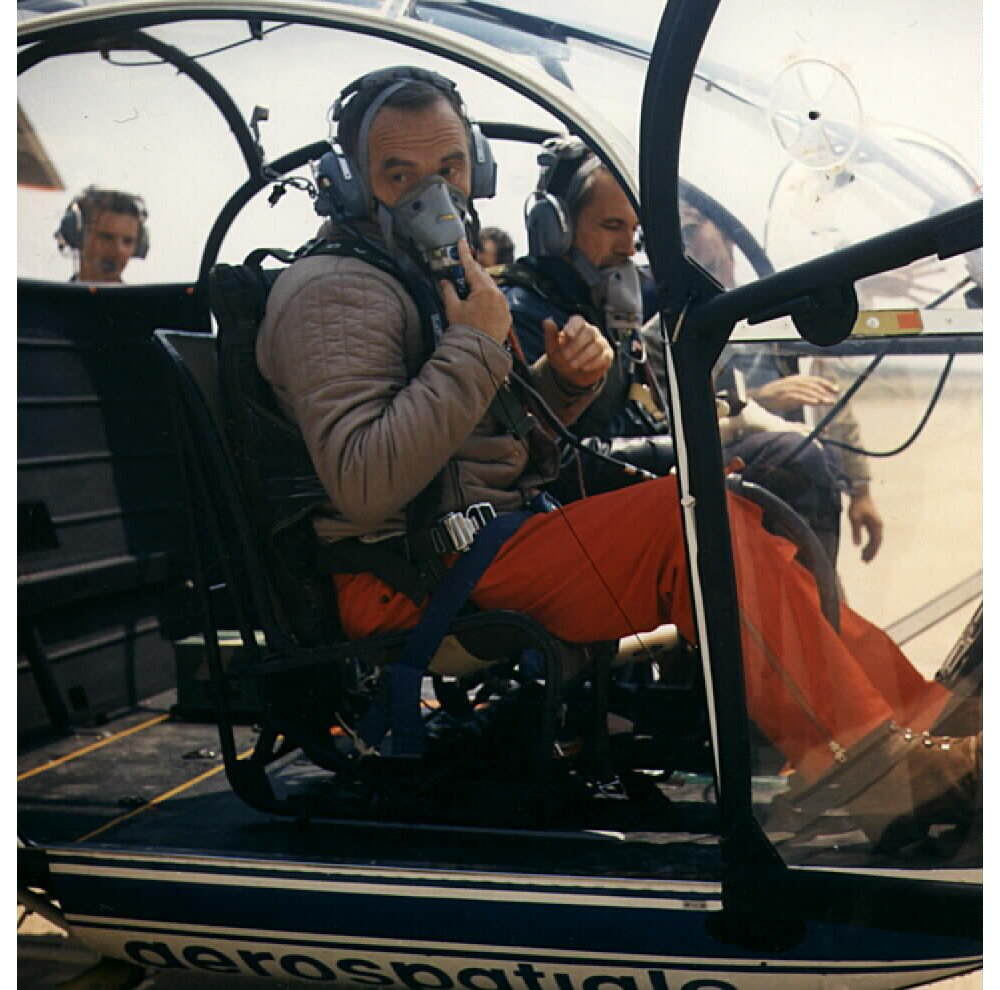 Jean Boulet during the preparation for the altitude world record with the LAMA SA315 B on June 19, 1972