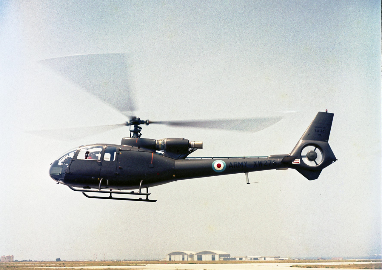 The first helicopter equipped with a Fenestron shrouded tail rotor, the Gazelle SA341, is shown during its maiden flight in 1968.