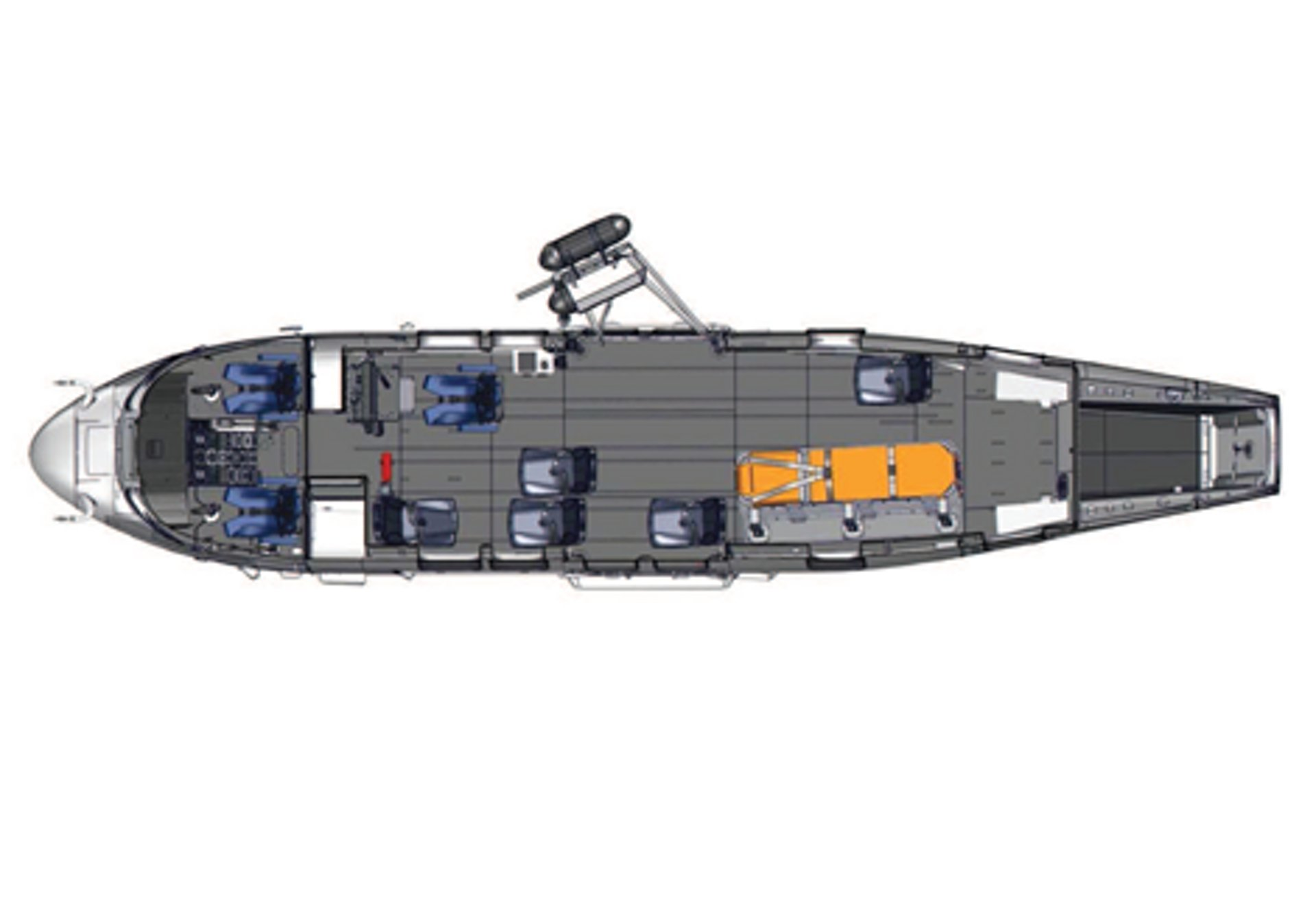 Diagram of an Airbus H225 helicopter cabin configured for search and rescue (SAR) operations.
