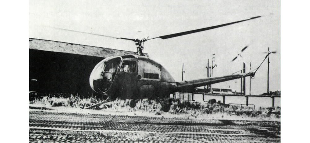 An SE3110 helicopter is shown outside the facility at La Courneuve, France in 1950.