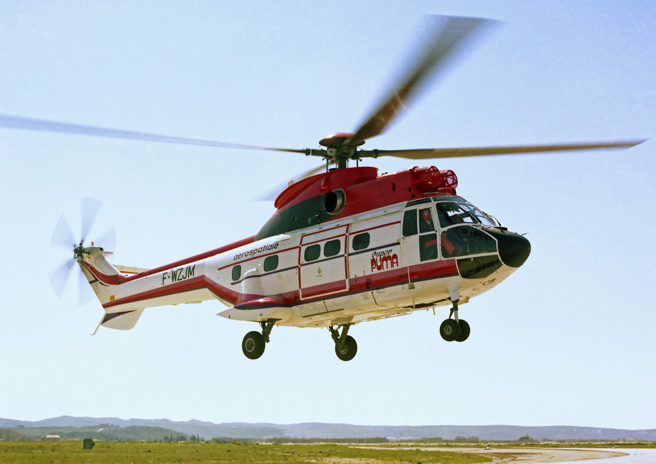 The Airbus AS332 Super Puma helicopter is shown during its maiden flight in 1978.