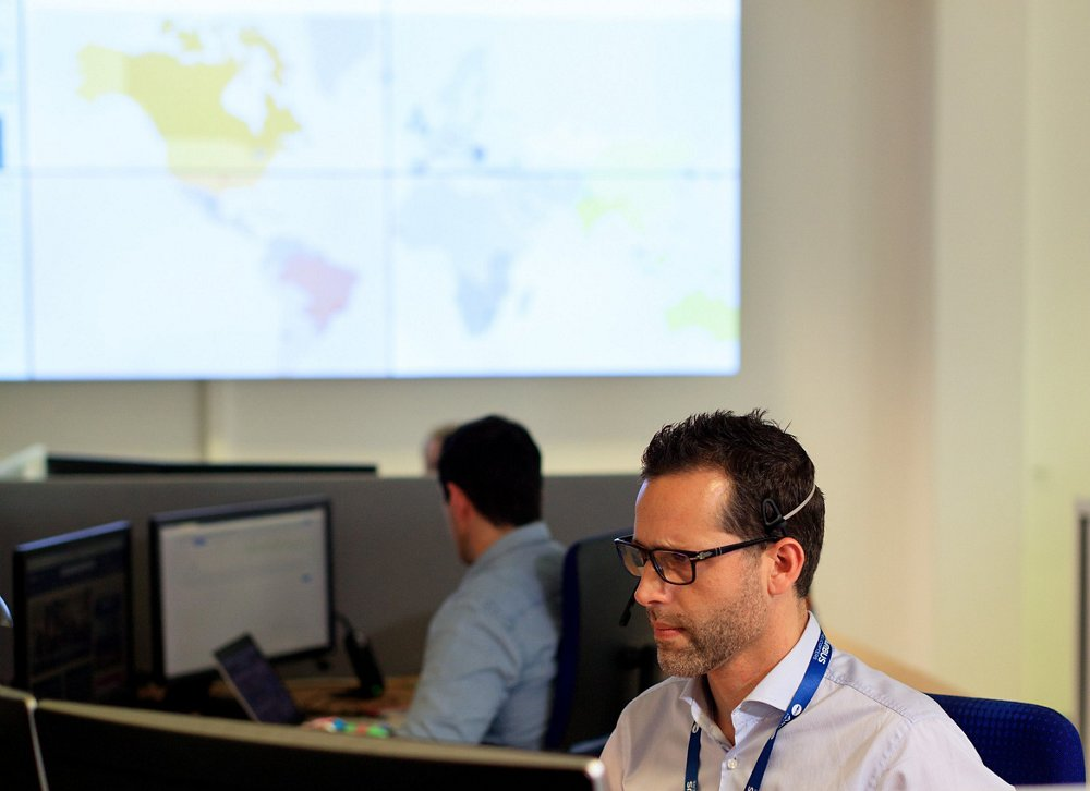 Two technical experts work inside one of Airbus Helicopters' customer service centres.