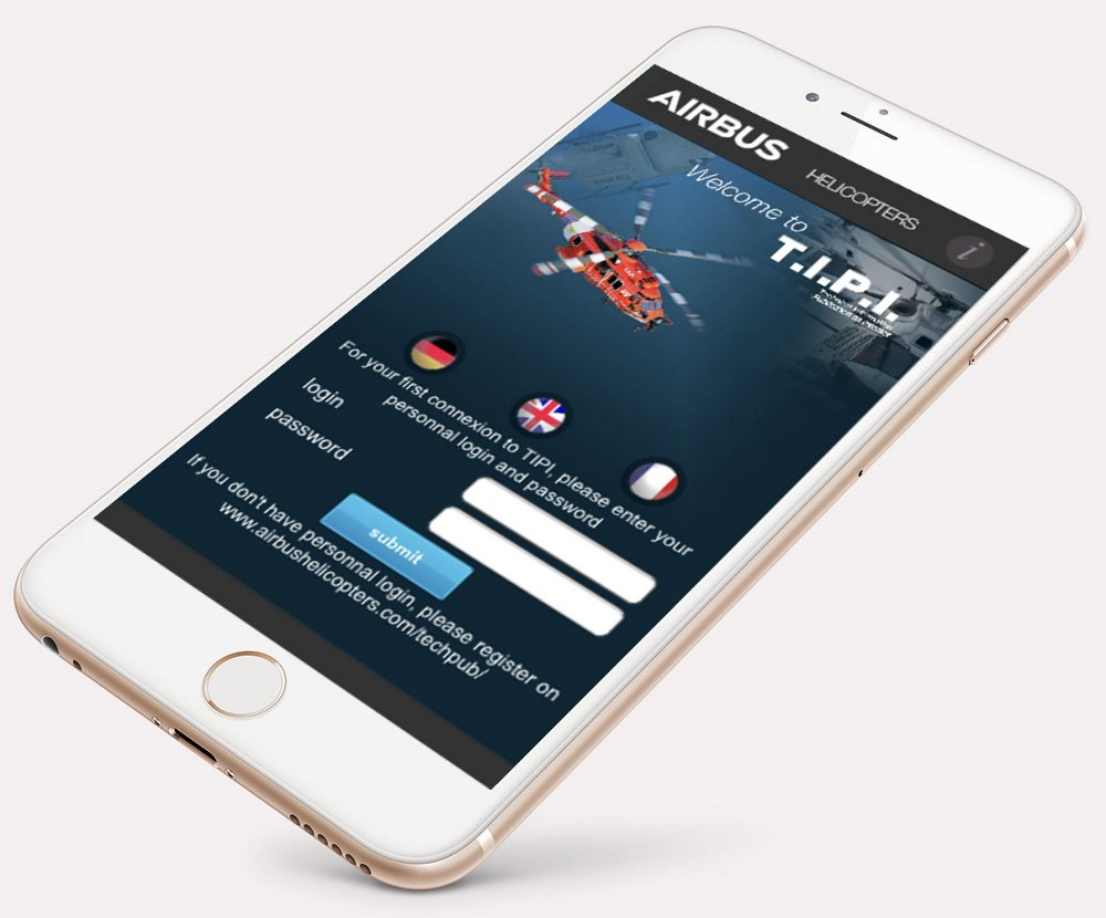 The login screen for Airbus Helicopters' T.I.P.I. (Technical Information Publication on Internet) portal, shown on an iPhone.