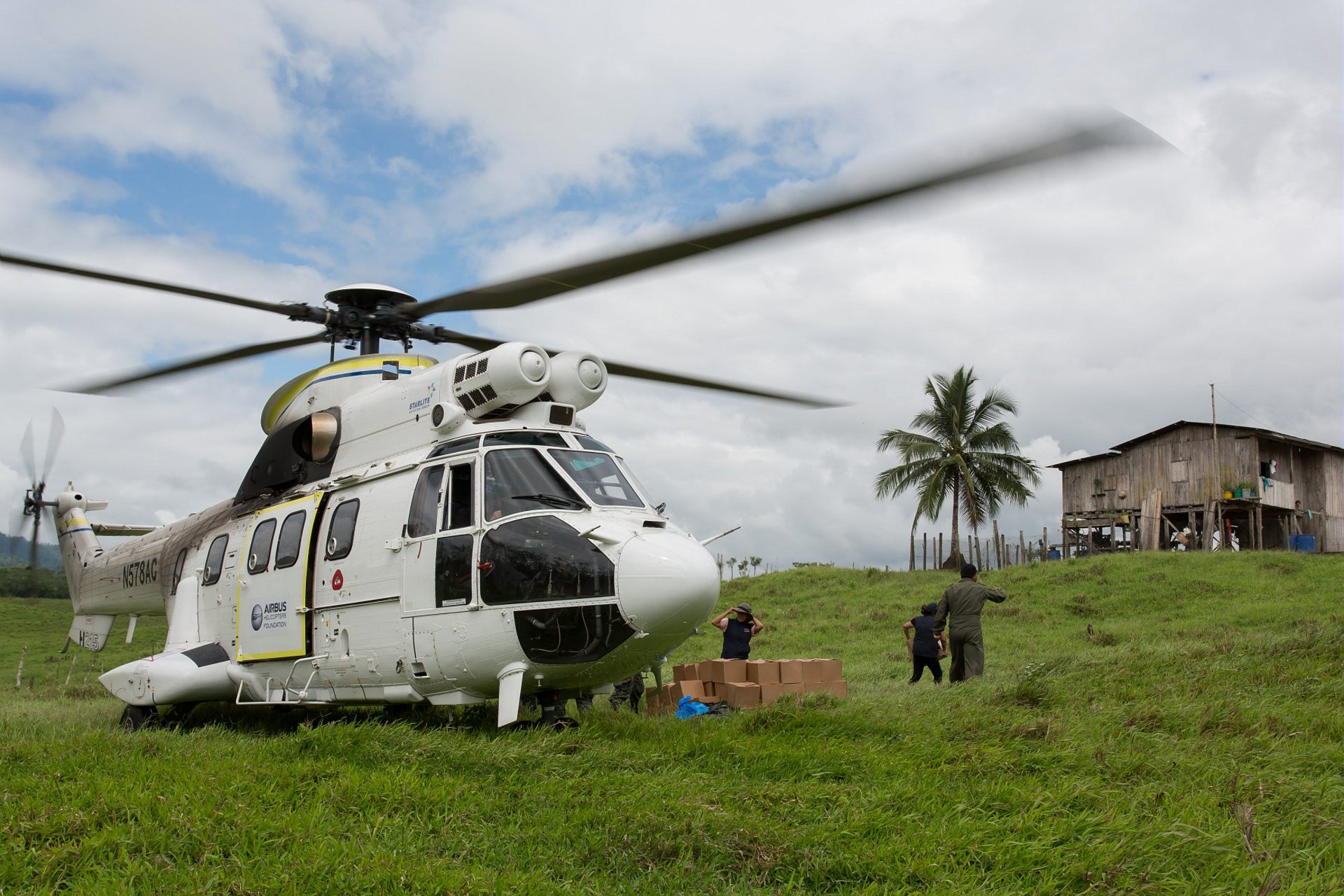 The H215M performa a humanitarian mission in Ecuador.
